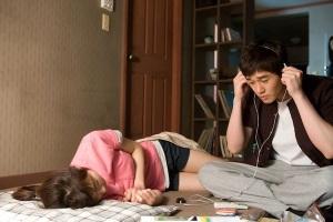 hello schoolgirl listening to music